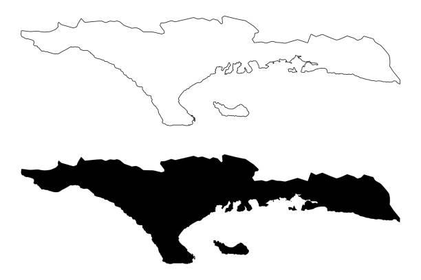 Sud department (Republic of Haiti, Hayti, Hispaniola, Departments of Haiti) map vector illustration, scribble sketch Sud map Sud department (Republic of Haiti, Hayti, Hispaniola, Departments of Haiti) map vector illustration, scribble sketch Sud map drawing of a haiti map stock illustrations