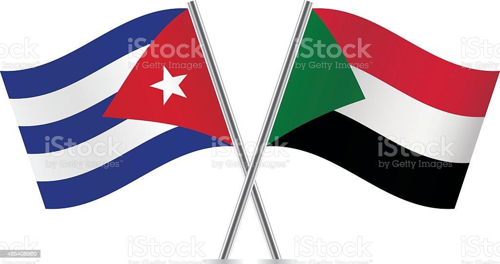 Sudan and Cuba flags. Vector. vector art illustration
