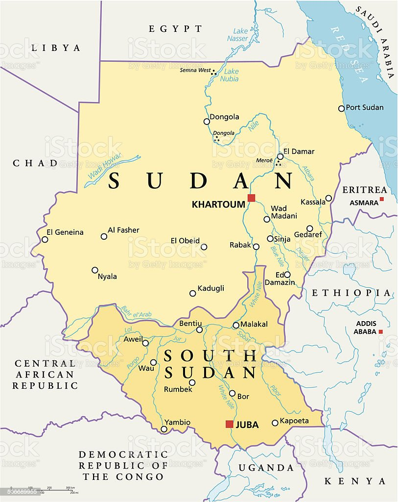 Sudan and South Sudan Political Map vector art illustration