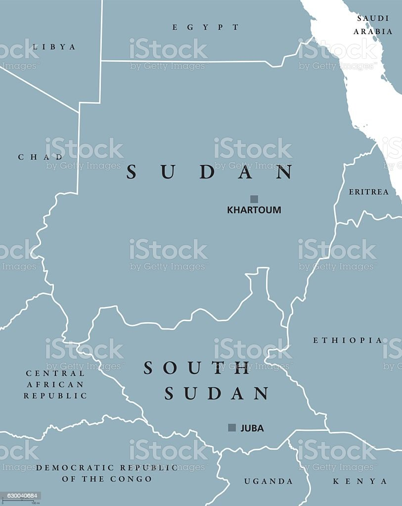 Sudan And South Sudan Political Map Stock Vector Art More Images