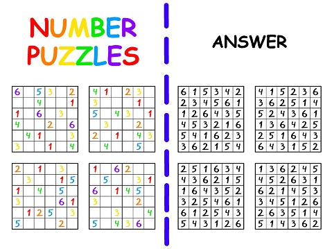 Sudoku collection with answers for beginners vector illustration