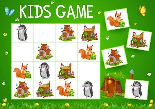 Sudoku game with cartoon fairytale houses, animals