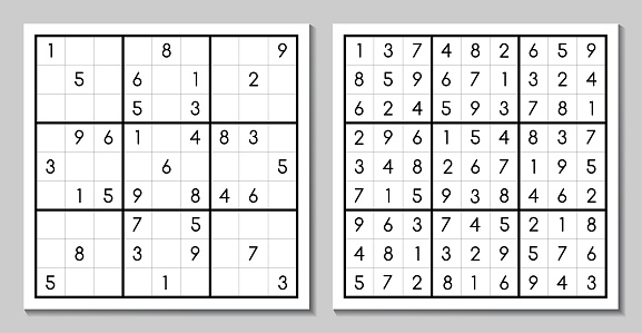 Sudoku game with the answer. Vector puzzle