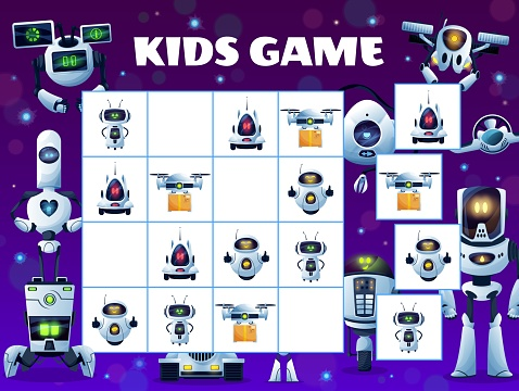 Sudoku kids game block puzzle, robots and drones