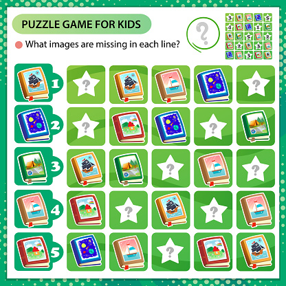 Sudoku puzzle. What images are missing in each line? Books and textbooks. Logic puzzle for kids. Education game for children. Worksheet vector design for schoolers.
