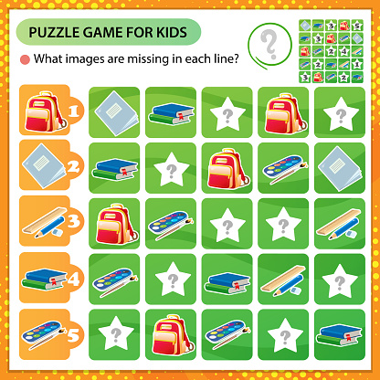 Sudoku puzzle. What images are missing in each line? School supplies. Textbooks, pencil, rulers, pen, notebook, paint and satchel. Logic puzzle for kids. Game for children. Worksheet vector design for schoolers