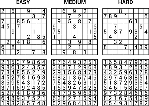 sudoku puzzle game with answers - vector illustration