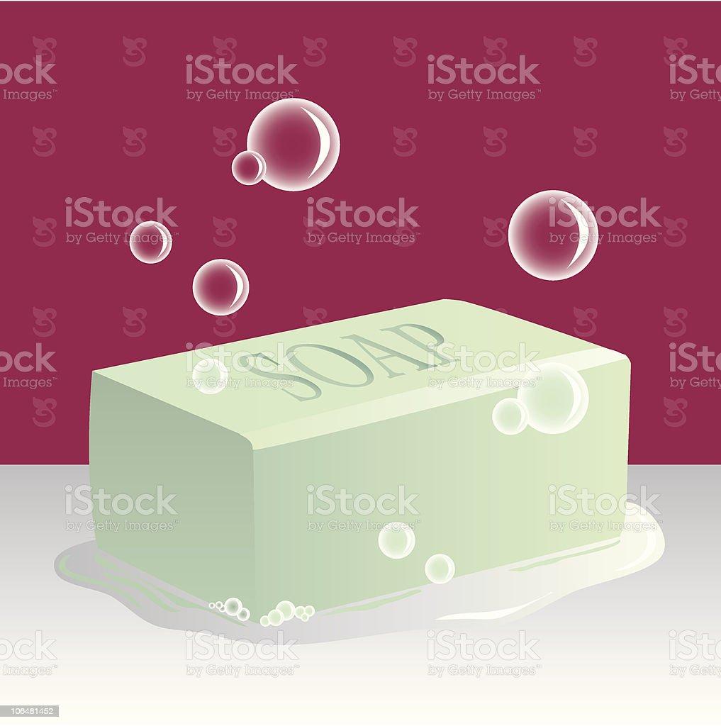 Sudsy Bar of Soap vector art illustration