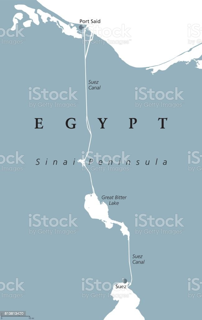 Suez Canal Political Map Stock Vector Art More Images Of Africa