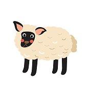 Suffolk Sheep animal cartoon character vector illustration.