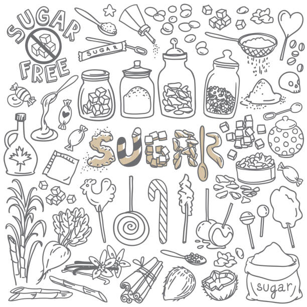 Sugar and sweets doodles set. Hand drawn vector illustration isolated on white background maple syrup stock illustrations