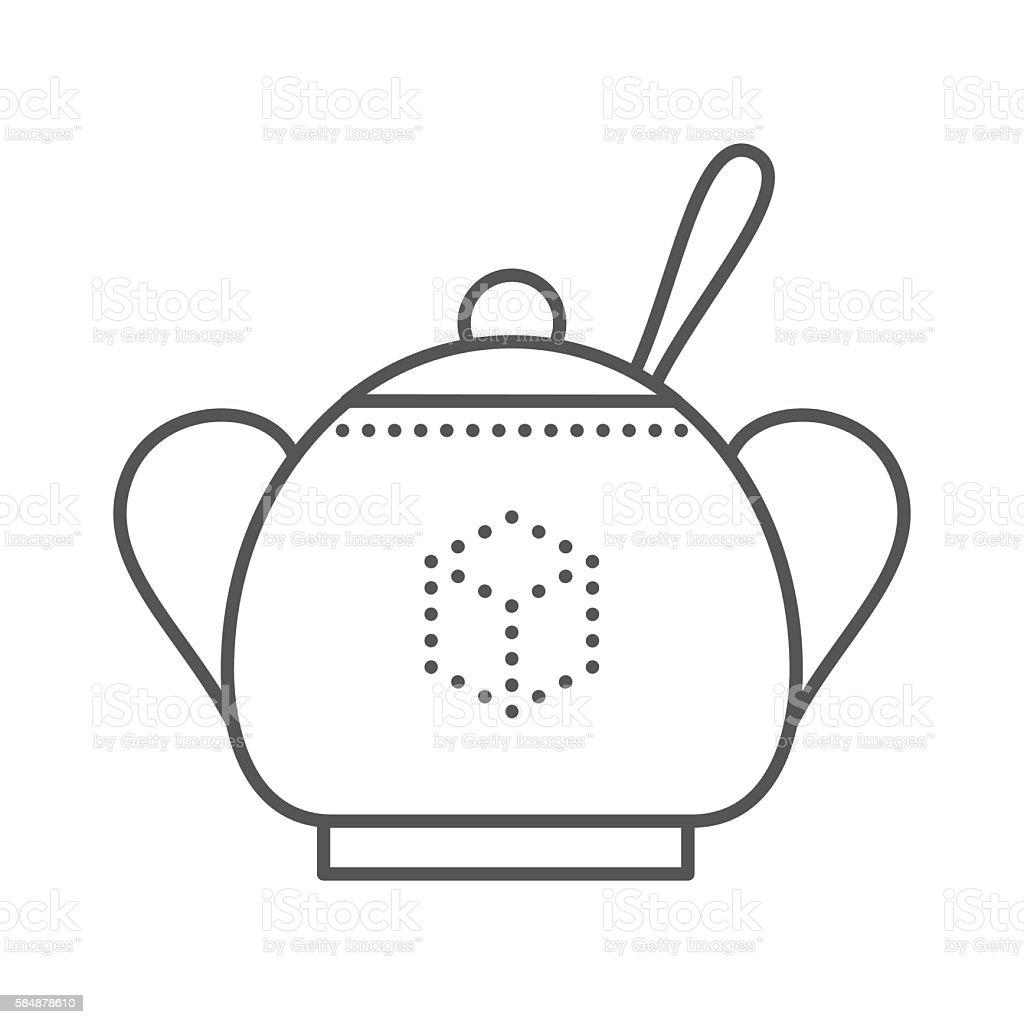Sugar bowl with spoon inside. vector art illustration