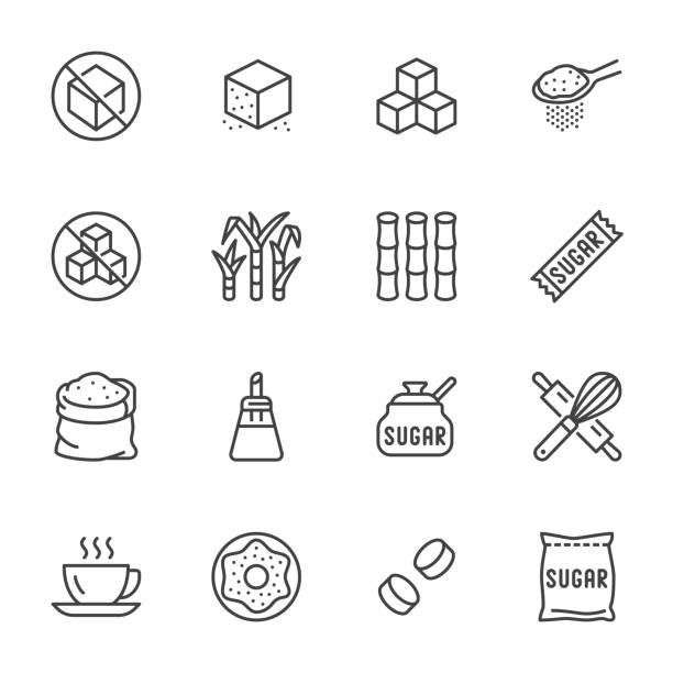 Sugar cane, cube flat line icons set. Sweetener, stevia, bakery products vector illustrations. Outline signs for sugarless food. Pixel perfect 64x64. Editable Strokes Sugar cane, cube flat line icons set. Sweetener, stevia, bakery products vector illustrations. Outline signs for sugarless food. Pixel perfect 64x64. Editable Strokes. spoon stock illustrations