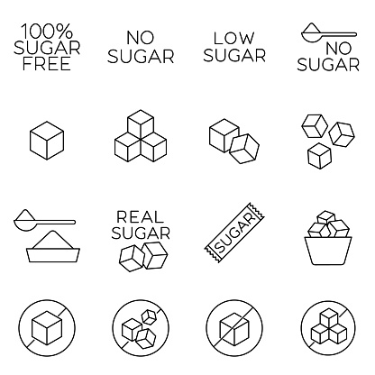 Sugar cubes line icons and sugar free labels. Signs of healthy sugarless food in outline style. Concept of diabetes prevention and weight control. Great for package or tags