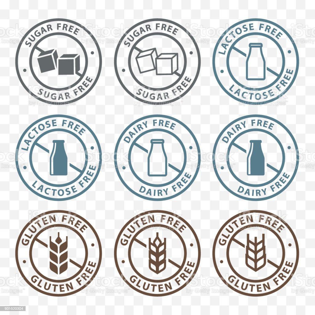 sugar free, dairy free, lactose free, gluten free packaging sticker label icons vector art illustration