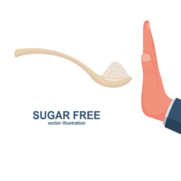 Sugar free. Human gesture hand refuses to sweet. Sugar free. Human gesture hand refuses to sweet. No sugar. Harmful product. Healthy lifestyle. Vector illustration flat design. Isolated on white background. infamous stock illustrations