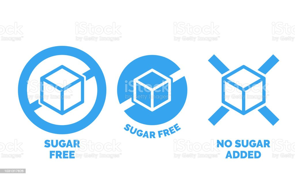 sugar free label for no sugar added product package icon design