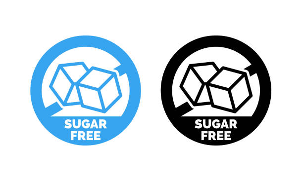 ilustrações de stock, clip art, desenhos animados e ícones de sugar free label. vector sugar cubes in circle icon for no sugar added product package design - açúcar