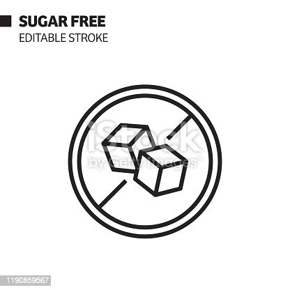 istock Sugar Free Line Icon, Outline Vector Symbol Illustration. Pixel Perfect, Editable Stroke. 1190859567