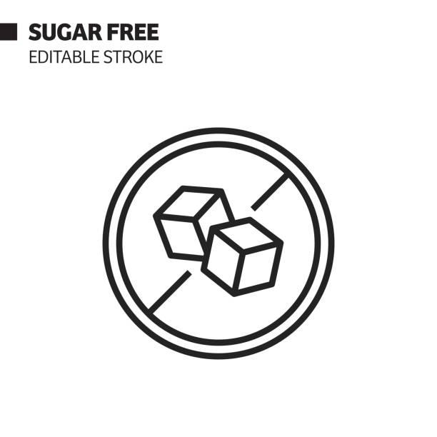 ilustrações de stock, clip art, desenhos animados e ícones de sugar free line icon, outline vector symbol illustration. pixel perfect, editable stroke. - açúcar