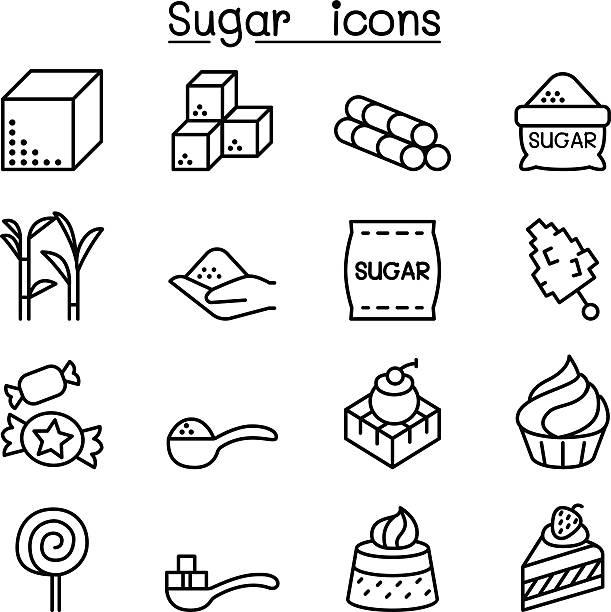 ilustrações de stock, clip art, desenhos animados e ícones de sugar icon set in thin line style - açúcar