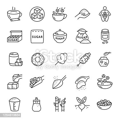 Sugar, icon set. Production, use and products, linear icons. Line with editable stroke