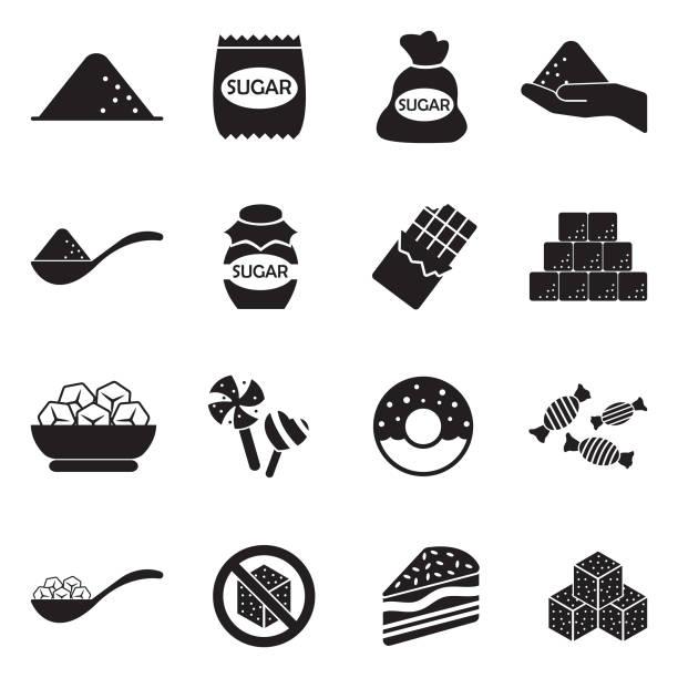 ilustrações de stock, clip art, desenhos animados e ícones de sugar icons. black flat design. vector illustration. - açúcar