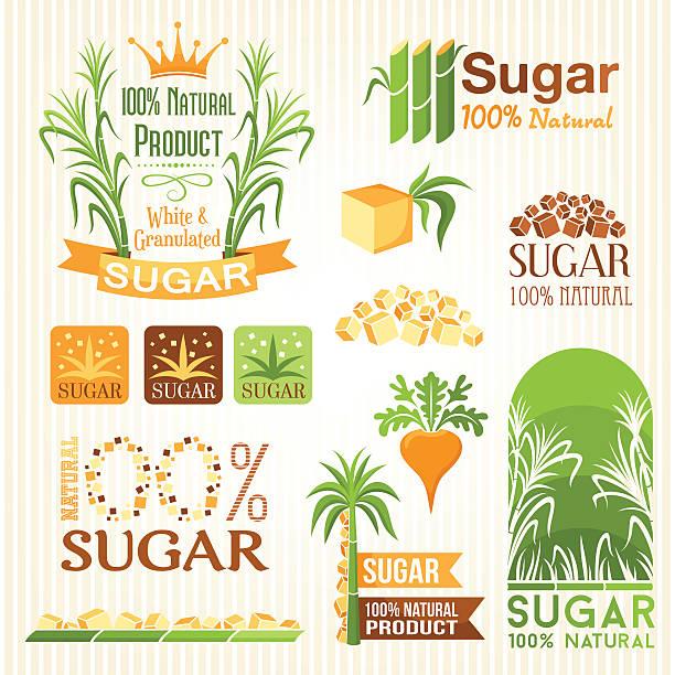 illustrazioni stock, clip art, cartoni animati e icone di tendenza di zucchero etichette, emblemi e icone per il design - canna da zucchero