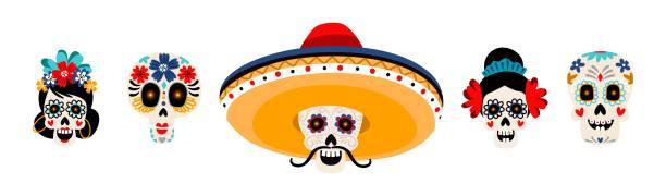 Sugar mexican skulls flat vector illustrations set vector art illustration