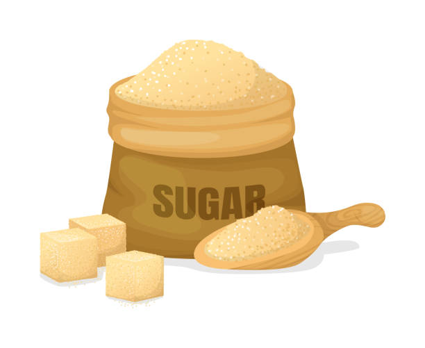 ilustrações de stock, clip art, desenhos animados e ícones de sugar of sugarcane with a scoop, burlap sack, crystal sugar - açúcar