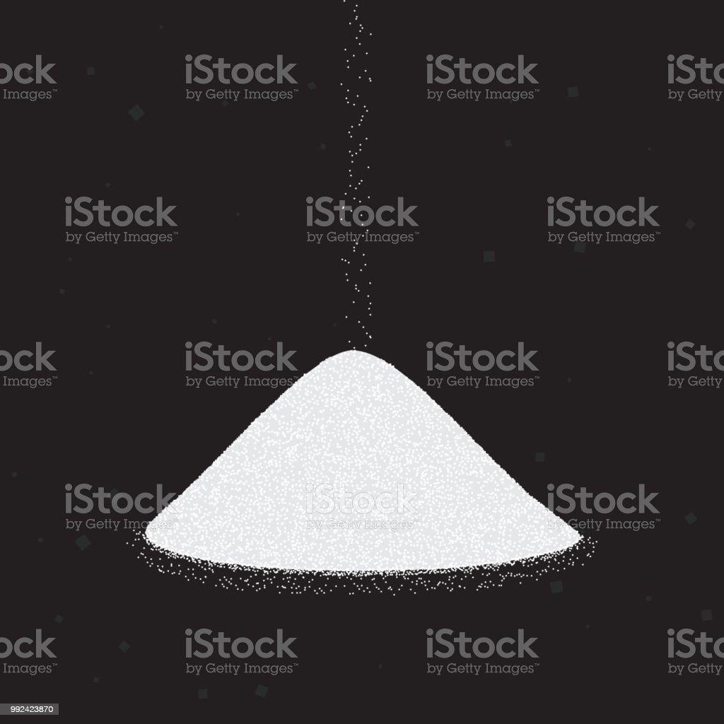 Sugar or salt heap. Vector illustration on black background. royalty-free sugar or salt heap vector illustration on black background stock illustration - download image now