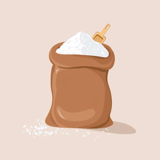 zucker oder salz mit schaufel im sack - mehl stock-grafiken, -clipart, -cartoons und -symbole
