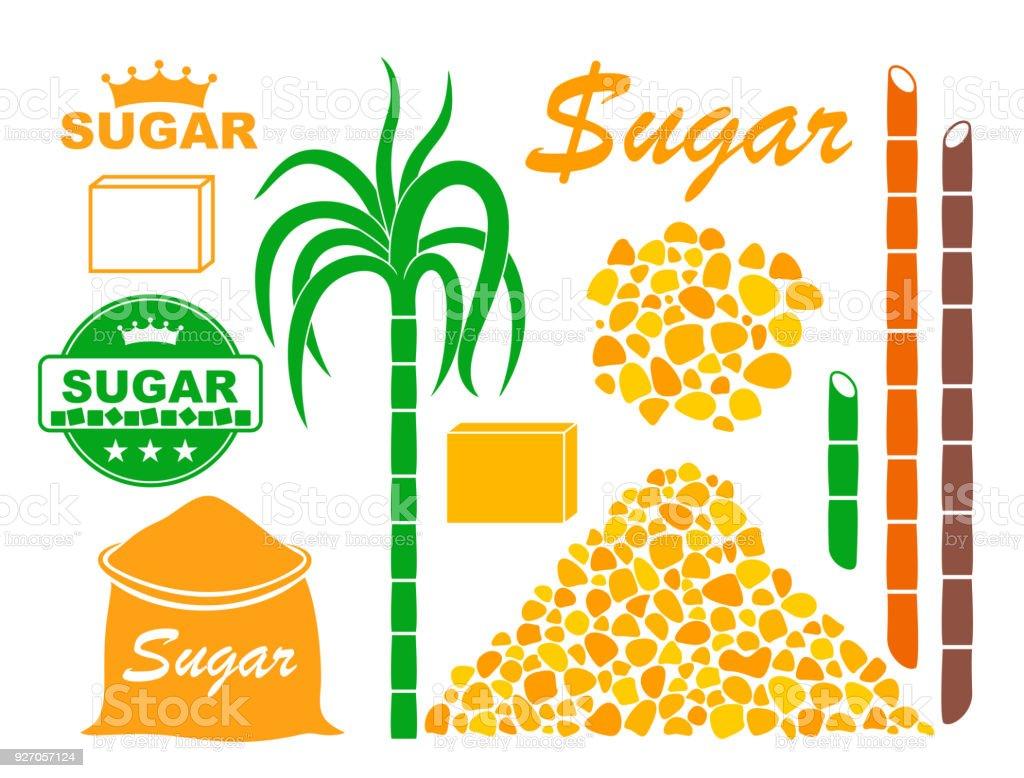 Sugar set. Isolated sugar on white background vector art illustration