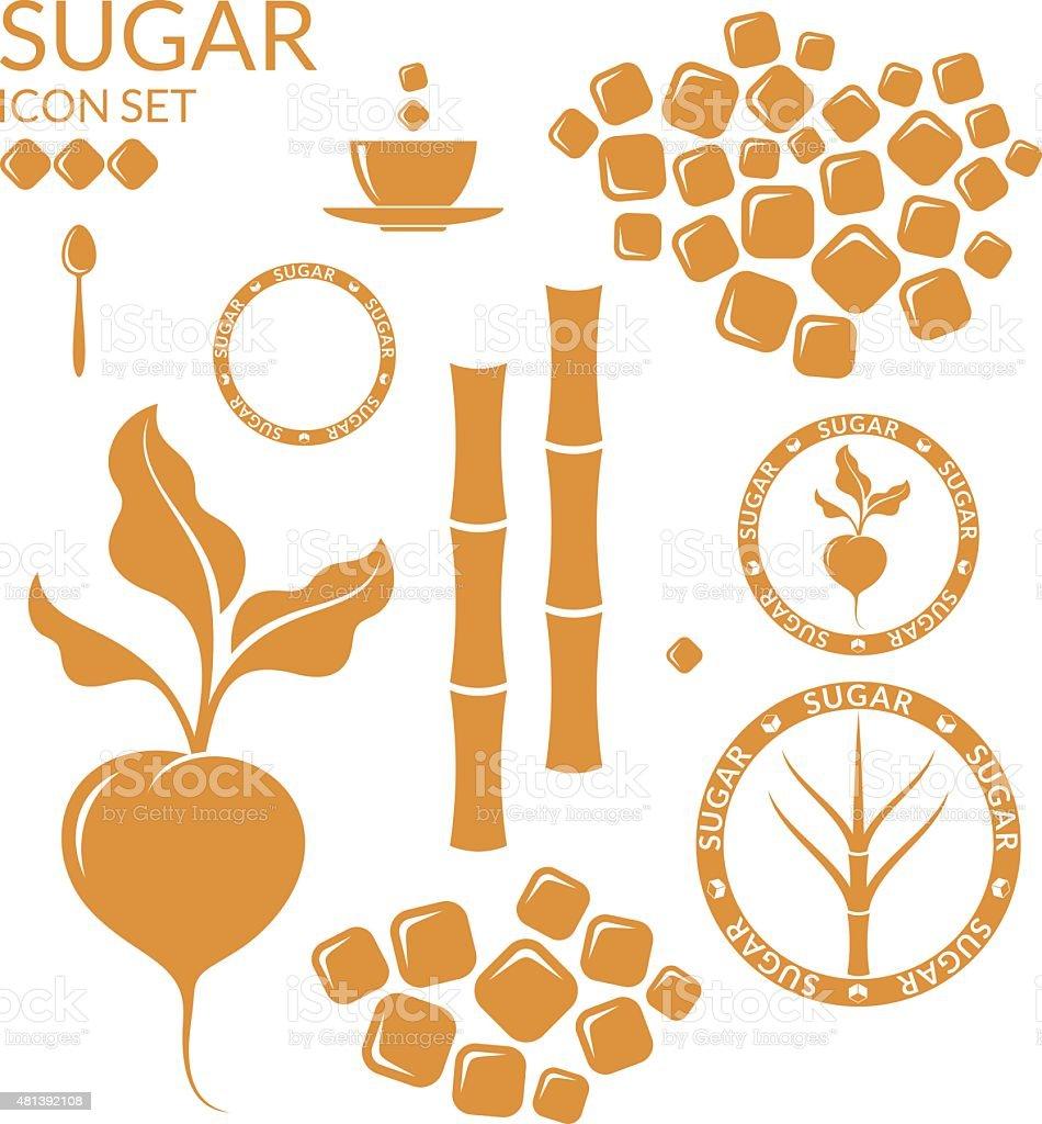 Sugar. Set vector art illustration