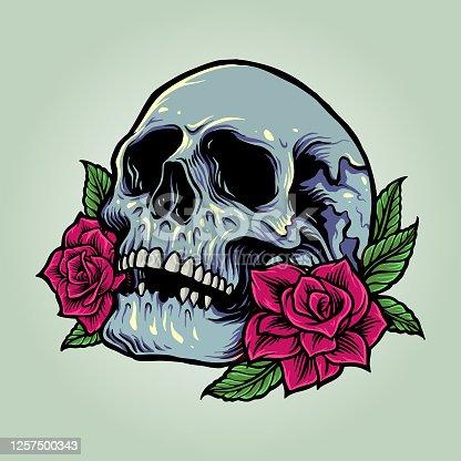 istock Sugar Skull Anatomy with Roses Vector Illustrations 1257500343
