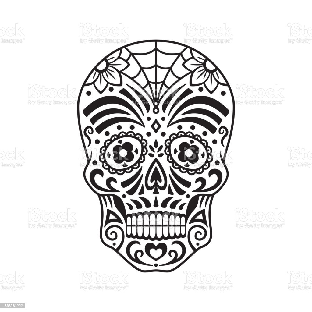 Sugar Skull Black Tattoo Mexican Day Of The Dead Vector Illustration Stock Illustration Download Image Now Istock