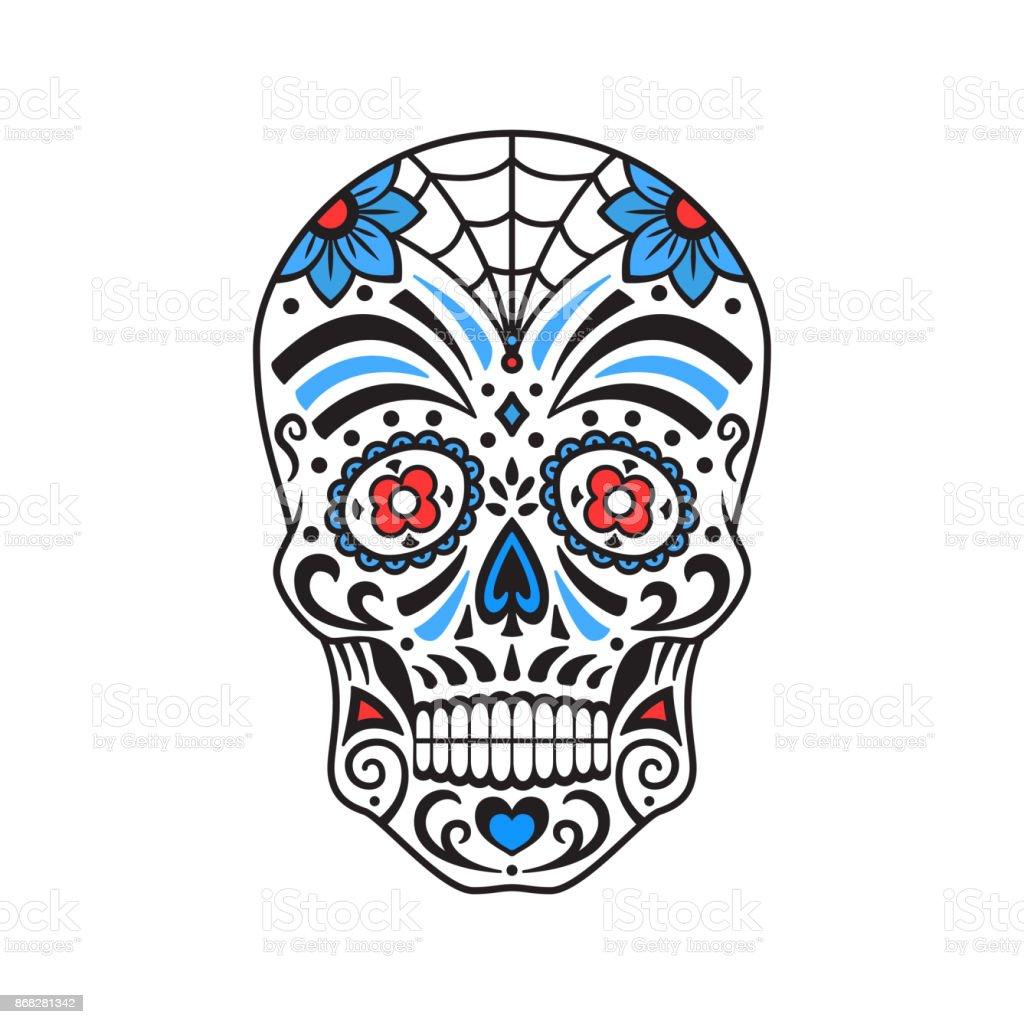 Ilustración De Calavera De Azúcar Tatuaje Colorido Mexicana Día De