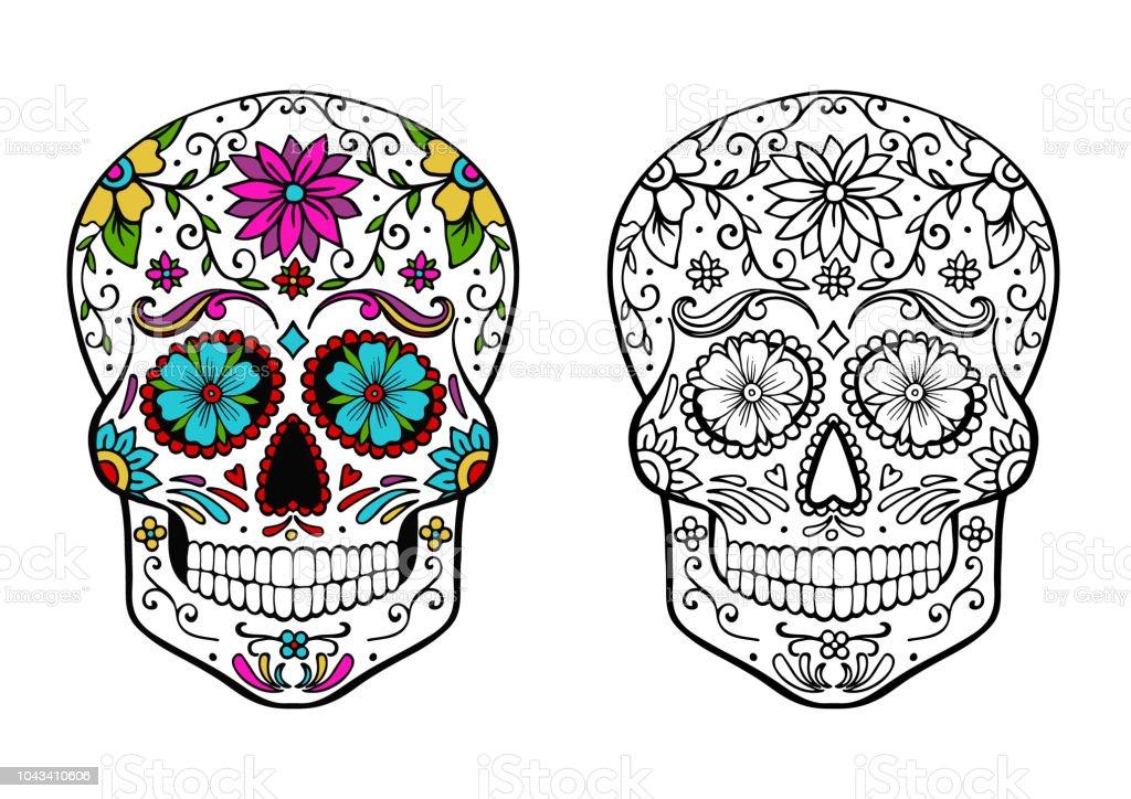 Ilustración De Calavera De Azúcar Para Colorear Página Y Un Ejemplo