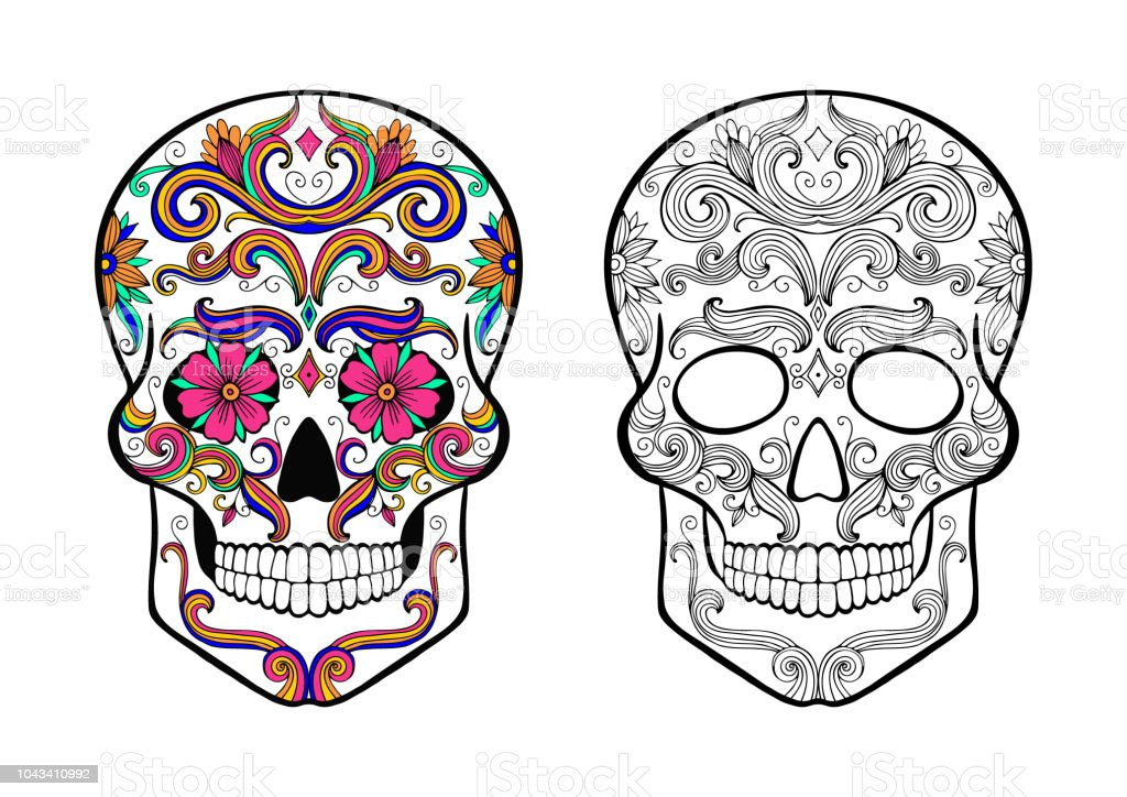 Sugar Skull Coloring Page Stock Illustration Download Image Now Istock