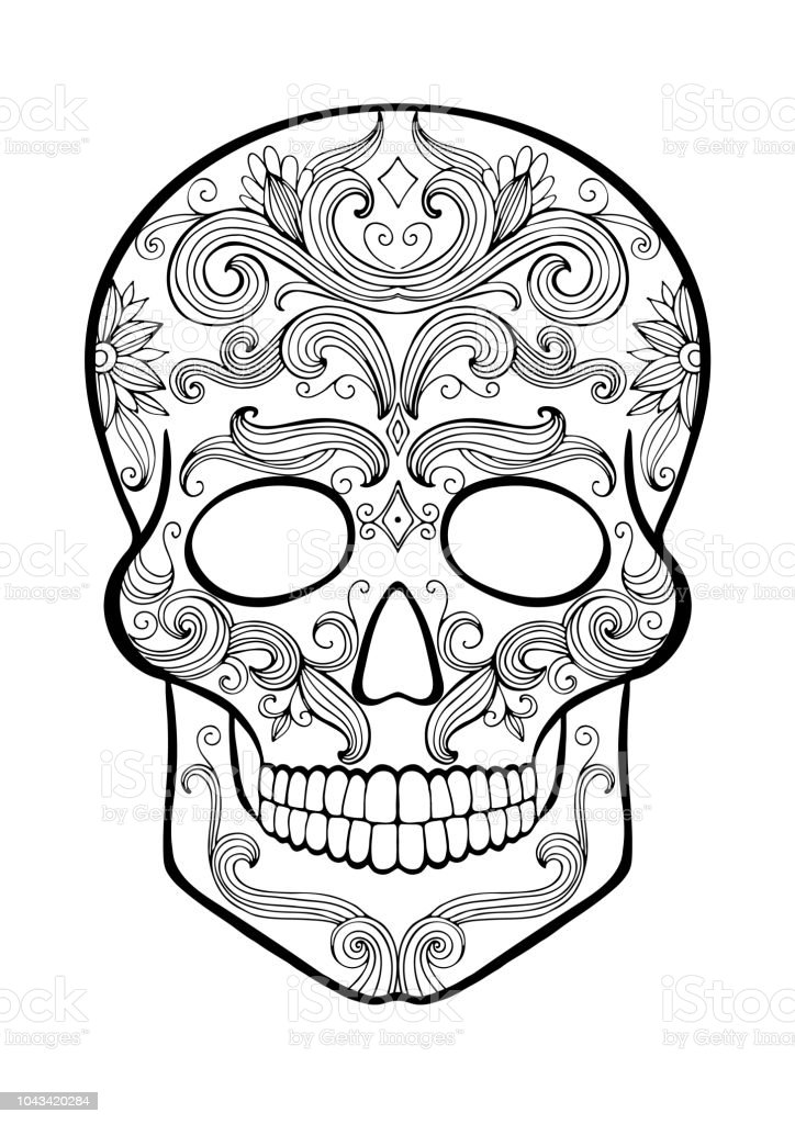 Day of the Dead Sugar Skull coloring page | Free Printable ... | 1024x724