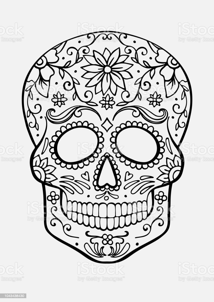 Sugar Skull Coloring Page Stock Illustration - Download Image Now - IStock