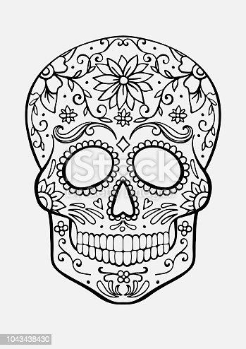 suiker schedel kleurplaat stockvectorkunst en meer beelden
