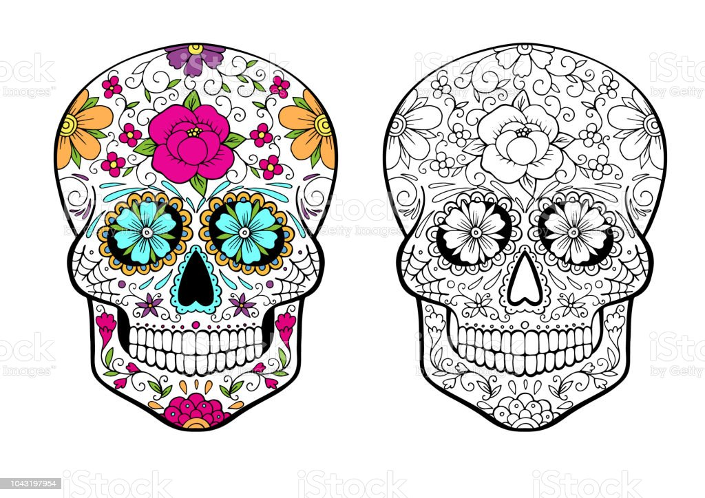 Sugar Skull Coloring Page With Color Example Stock Illustration - Download  Image Now - IStock