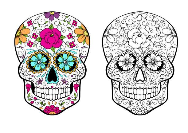 Royalty Free Sugar Skull Clip Art, Vector Images