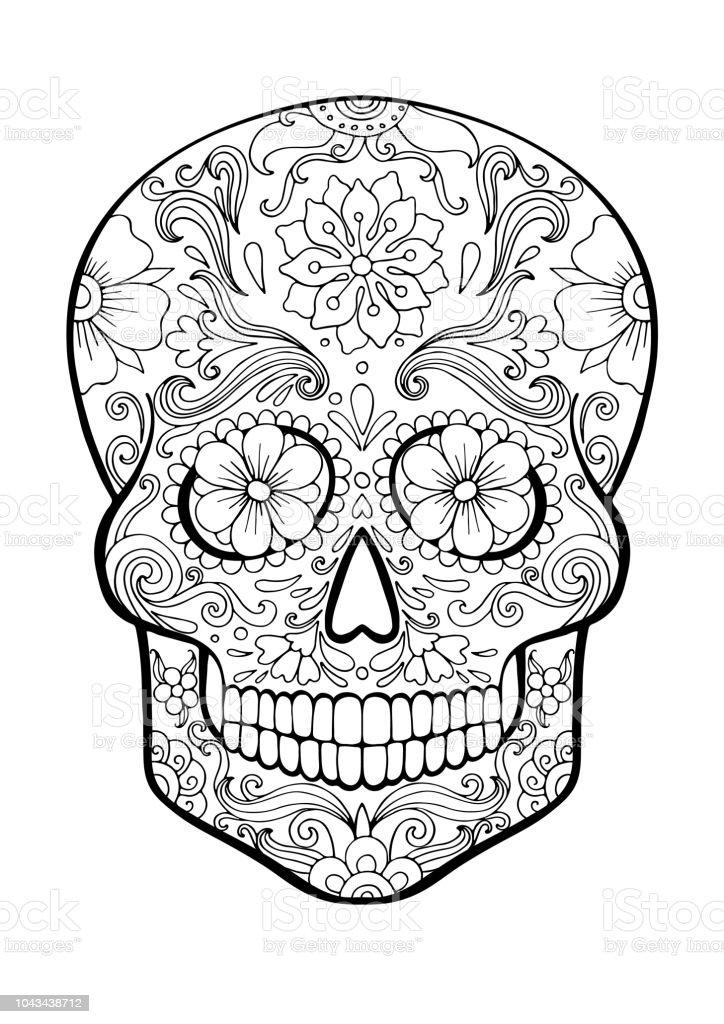 Ilustración de Calavera De Azúcar Día De La Muerte Página Para ...