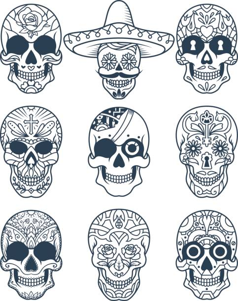 Sugar Skull Decorated Set 2 vector art illustration