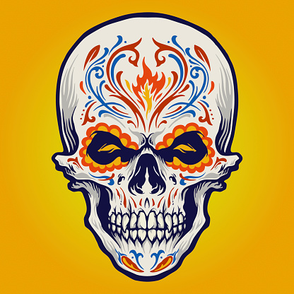 Sugar skull Dia de Los Muertos Tattoo illustrations for your work Logo, mascot merchandise t-shirt, stickers and Label designs, poster, greeting cards advertising business company or brands