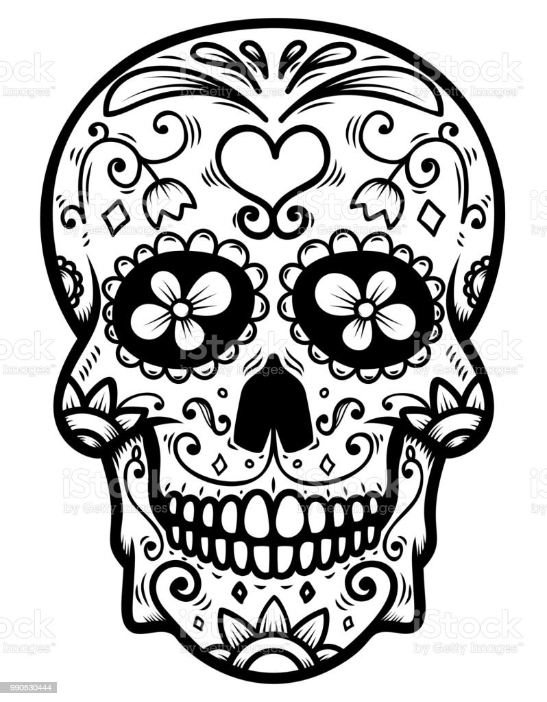 Sugar Skull Isolated On White Background Day Of The Dead Dia De Los Muertos