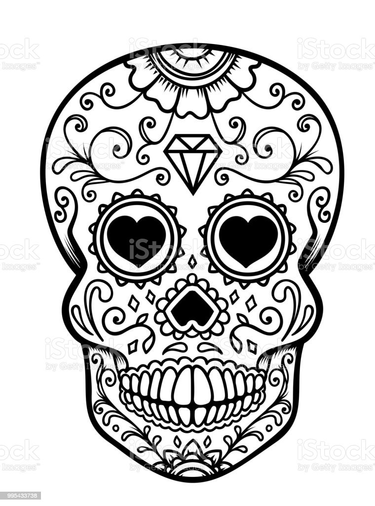 sugar skull isolated on white background day of the dead dia de los