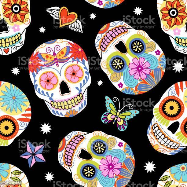 Sugar skull seamless pattern vector id1030294682?b=1&k=6&m=1030294682&s=612x612&h=smyedc4udz6pnokf0so2k0isspyclcigoy9re z fxs=